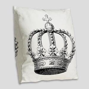 King's Crown Black White Burlap Throw Pillow