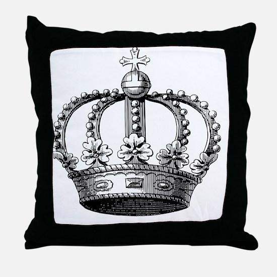 King's Crown Black White Throw Pillow