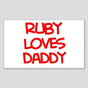 Ruby Loves Daddy Rectangle Sticker
