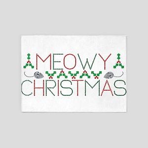 Meowy Christmas 5'x7'Area Rug