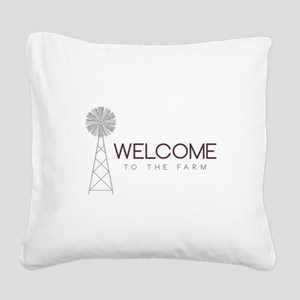 Farm Welcome Square Canvas Pillow