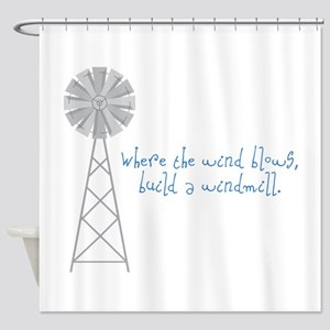Wind Blows Windmill Shower Curtain