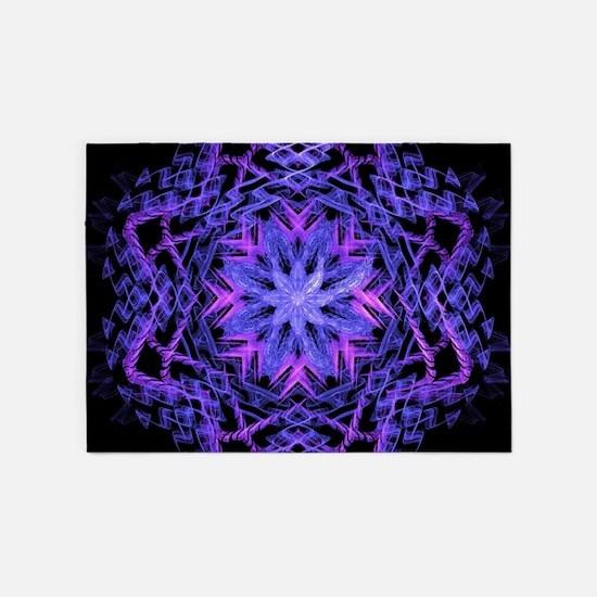 Pretty Purple Fractal 5 X7 Area Rug