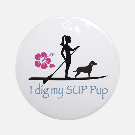 SUP Pup Girl Ornament (Round)