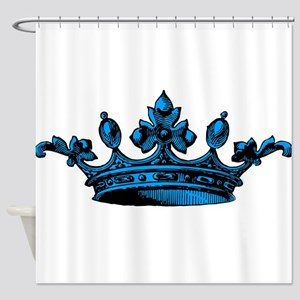 Crown Light Blue Black Shower Curtain