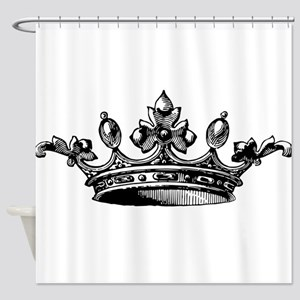 Crown Black White Centered Shower Curtain