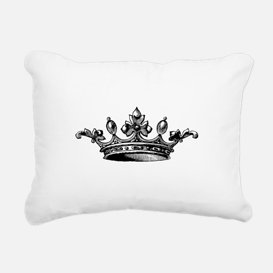 Crown Black White Center Rectangular Canvas Pillow