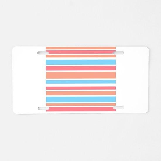 Orange Turquoise Stripes Aluminum License Plate
