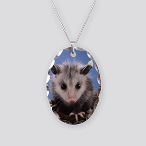 Cute Opossum Necklace Oval Charm