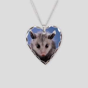 Cute Opossum Necklace Heart Charm