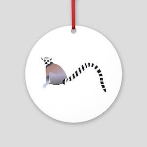 Cartoon Ring-Tail Lemur Ornament (Round)