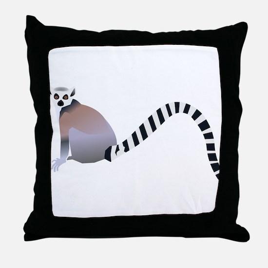 Cartoon Ring-Tail Lemur Throw Pillow