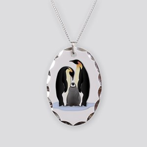 Penguin Family Necklace Oval Charm