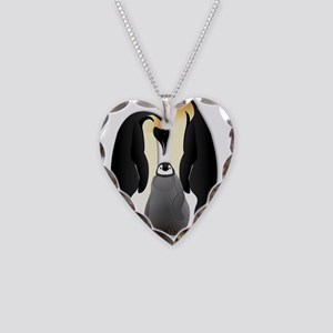 Penguin Family Necklace Heart Charm