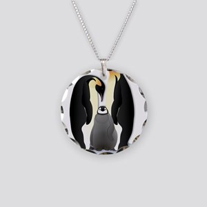 Penguin Family Necklace Circle Charm