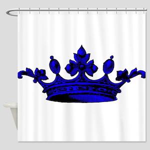 Crown Blue Black Shower Curtain