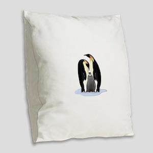 Penguin Family Burlap Throw Pillow