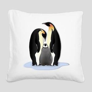 Penguin Family Square Canvas Pillow