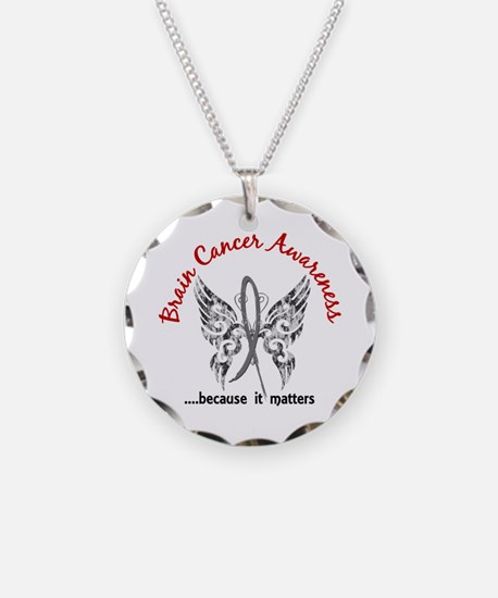 Brain Cancer Butterfly 6.1 Necklace Circle Charm