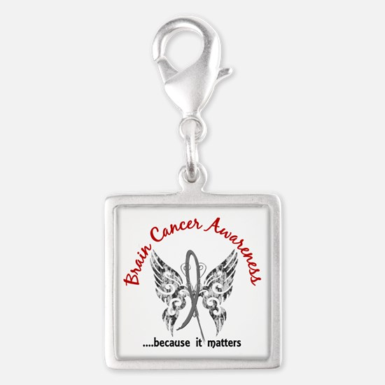 Brain Cancer Butterfly 6.1 Silver Square Charm