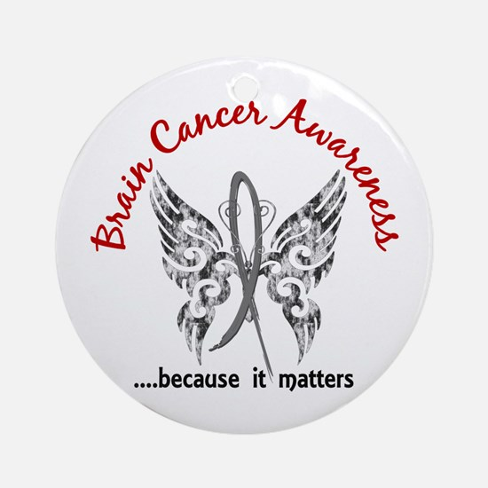 Brain Cancer Butterfly 6.1 Ornament (Round)