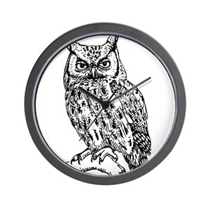 Black White Owl Wall Clocks Cafepress