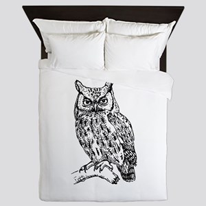 Black and White Owl Sketch Queen Duvet