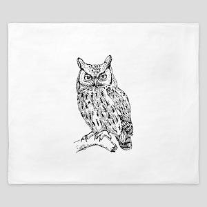 Black and White Owl Sketch King Duvet