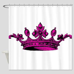Crown Pink Black Shower Curtain