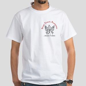 Brain Tumor Butterfly 6.1 White T-Shirt