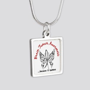 Brain Tumor Butterfly 6.1 Silver Square Necklace