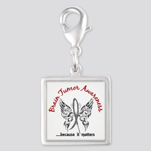 Brain Tumor Butterfly 6.1 Silver Square Charm