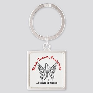 Brain Tumor Butterfly 6.1 Square Keychain