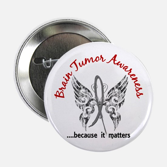 "Brain Tumor Butterfly 6.1 2.25"" Button"