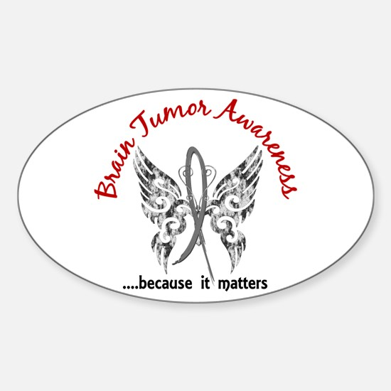 Brain Tumor Butterfly 6.1 Sticker (Oval)