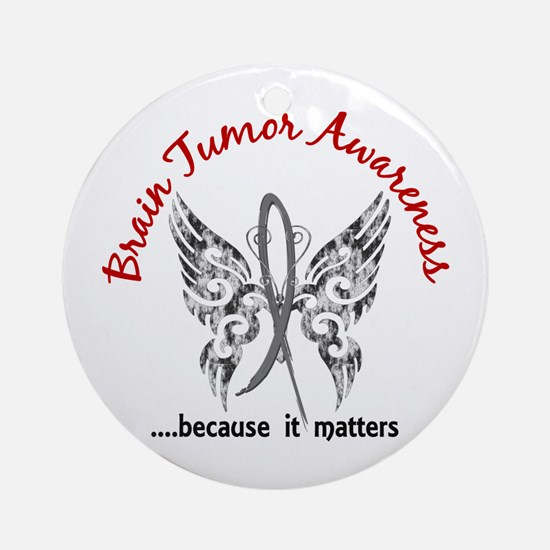Brain Tumor Butterfly 6.1 Ornament (Round)