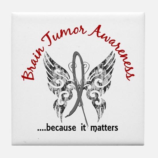 Brain Tumor Butterfly 6.1 Tile Coaster