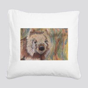 Wally Wombat Square Canvas Pillow