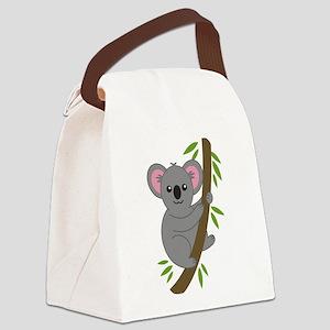 Cartoon Koala in a Tree Canvas Lunch Bag