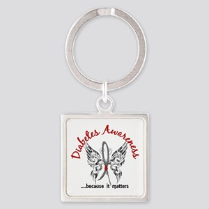 Diabetes Butterfly 6.1 Square Keychain