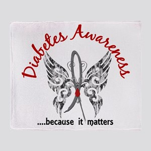 Diabetes Butterfly 6.1 Throw Blanket