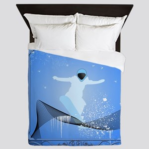 Snowboarder with snowflakes Queen Duvet