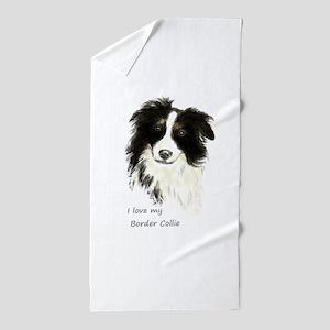 I love my Border Collie Pet Dog Beach Towel