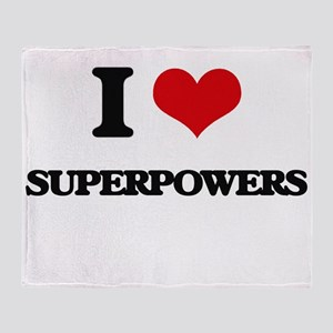 I love Superpowers Throw Blanket