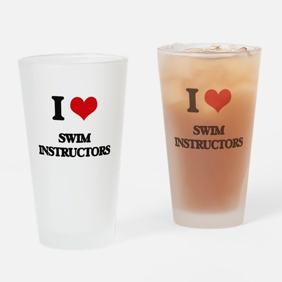 I love Swim Instructors Drinking Glass