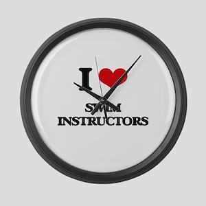I love Swim Instructors Large Wall Clock