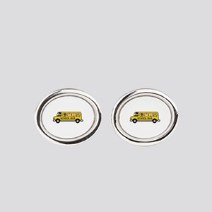 School Bus Kids Oval Cufflinks