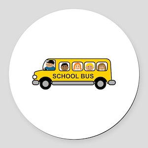 School Bus Kids Round Car Magnet
