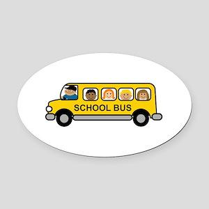 School Bus Kids Oval Car Magnet