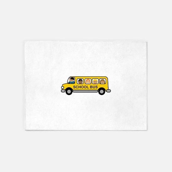 School Bus Kids 5'x7'Area Rug